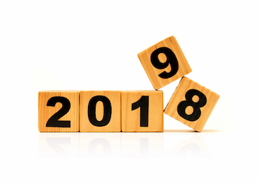 New Year 2019 and Old 2018 with wood block isolated